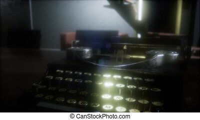 retro typewriter in the dark