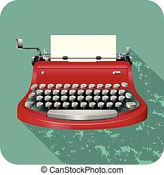 Retro typewriter on blue illustration