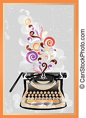 Retro typewriter poster - Colorful retro typewriter poster...