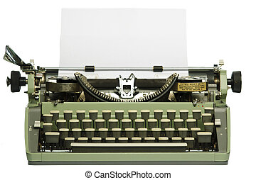 Retro typewriter with blank paper isolated on white ...