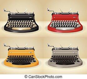Retro typewriters on grunge background