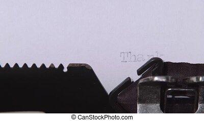 Retro typewritten word thank you. Close up - Retro machine...