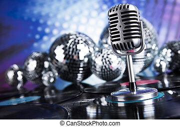 retro tytułują, mikrofon, muzyka, tło