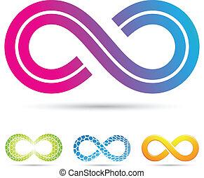 retro tytułują, nieskończoność, symbol