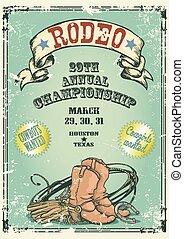 retro tytułują, rodeo, poster.