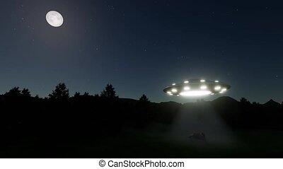 Retro ufo cow flying saucer alien Night Moon 4k
