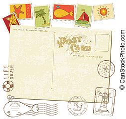 retro, uitnodiging, postkaart, met, zee, postzegels, -,...