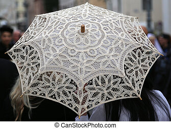 retro umbrella all hand-decorated with lace doilies