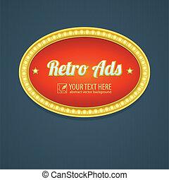retro, underteckna, design, annonsering, för, motell