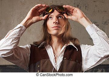 retro, uomo, in, aviatore, occhiali, sopra, grunge, fondo.,...