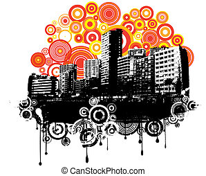 Retro urban grunge - Silhouettes of skyscrapers on retro...