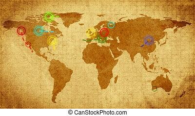 retro, utazó, térkép, noha, compass.