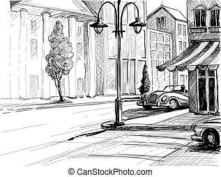 retro, város, skicc, utca, épületek, és, öreg, autók, vektor, ábra, ceruza, képben látható, dolgozat, mód