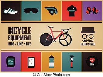 retro, vélo, équipement