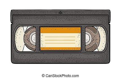 retro, vídeo, cassette., vindima, vetorial, cor, gravura