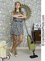 retro vacuum cleaner woman housewife vintage