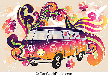 Retro van - flower power - van with colorful swirls, doves,...