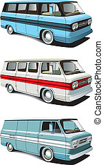 retro van set - Vectorial icon set of American retro vans...
