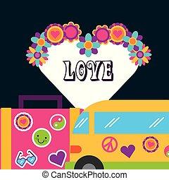 retro van suitcase stickers flowers love bohemian free spirit