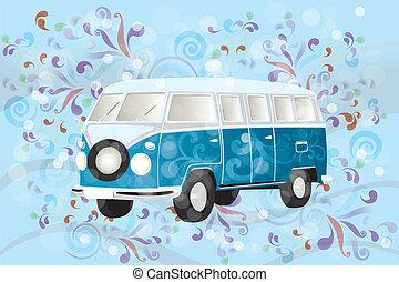 Retro van with colorful swirls