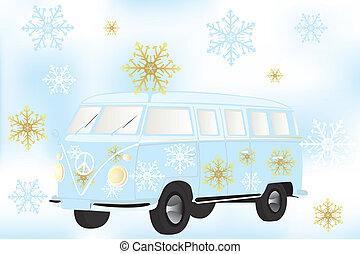 Retro van with white and golden snow flakes - Stock Illustration