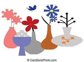 retro vases background