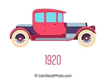 retro, veículo, isolado, ícone, história, 1920s, car