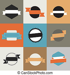 Retro vector banners color template
