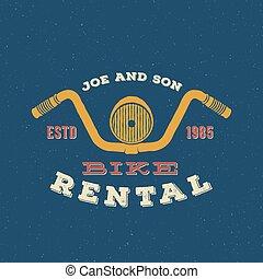 Retro Vector Bike Rental Label or Logo Design