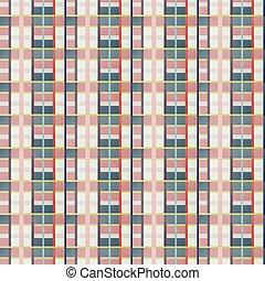 Retro vector blue, beige, white and orange plaid pattern