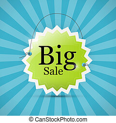 Retro Vector Blue, Green Big Sale Label Background
