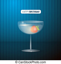 Retro Vector Blue Happy Birthday Background With Drink