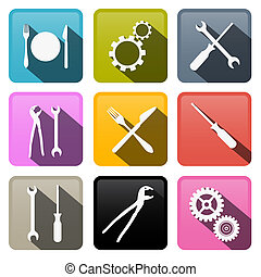 Retro Vector Buttons: Cogs, Gears, Screwdriver, Pincers, Spanner, Hand Wrench Tools, Knife, Fork