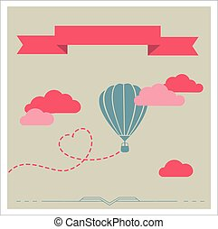 Retro vector card with aerostat flying in the clouds