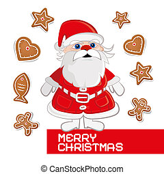 Retro Vector Christmas Card with Santa Claus on White Background