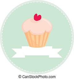 Retro vector cupcake sign - Sweet retro cupcake with heart...