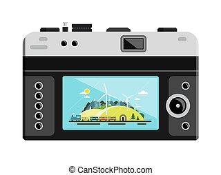Retro Vector Digital Photo Camera with Landscape on Display Isolated on White Background