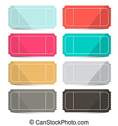 Retro Vector Empty Tickets Set Isolated on White Background