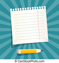 Retro Vector Empty White Paper Sheet with Pencil