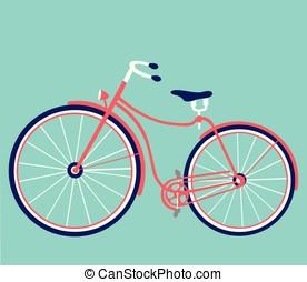 Retro vector female bike. Vintage bicycle isolated on white background.