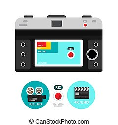 Retro Vector Film Camera Back with 4K - Hd and DVD Icons on Screen