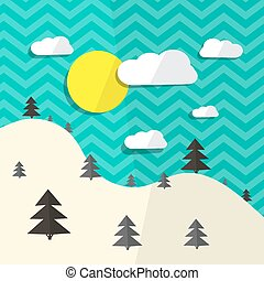 Retro Vector Flat Design Landscape Illustration with Hills and Trees