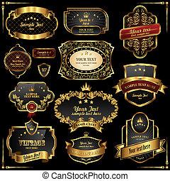 Retro vector gold frames on black background. Premium design...
