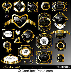 Retro vector golden label