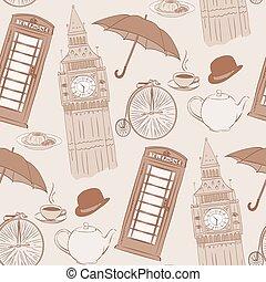 Retro Vector hand drawn London pattern