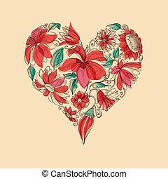 retro, vector, hart, van, bloemen, liefde, symbool