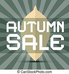 retro, vector, herfst, verkoop, titel, met, blad, op, groene achtergrond