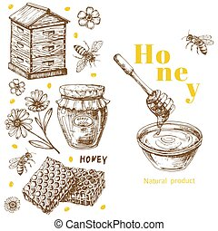 Retro vector honey background template with hand drawn elements