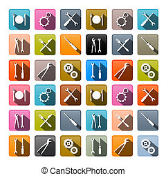 Retro Vector Icons - Cogs, Gears, Screwdriver, Pincers, Spanner, Hand Wrench Tools, Knife, Fork