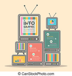 retro vector illustration abstract television tower infographics design